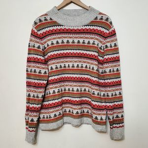 J. Crew Colorful Nordic Wool Blend Sweater, sz XL